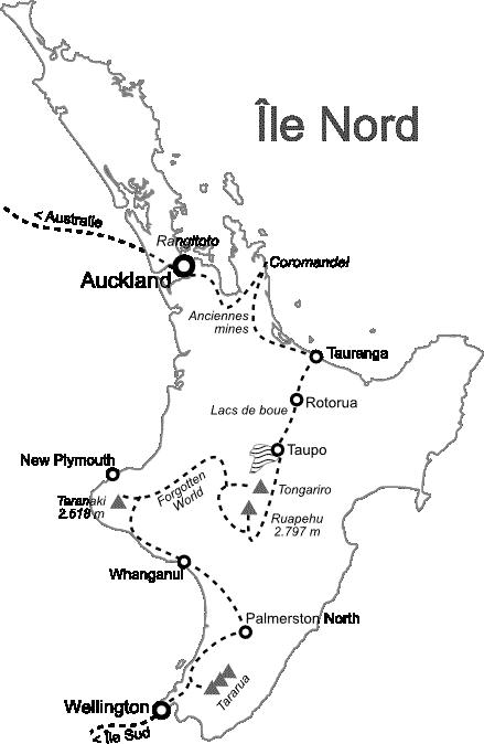 Carte Île Nord Nouvelle-Zélande