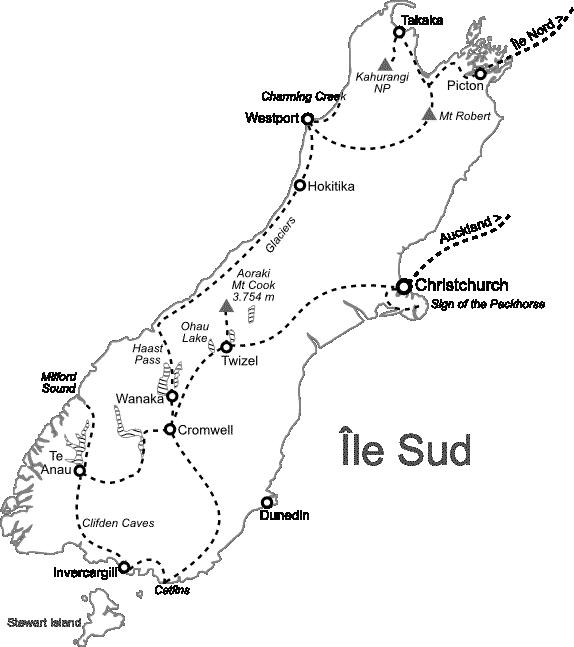 Carte Île Sud Nouvelle-Zélande
